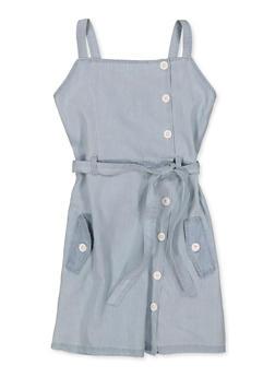 Girls 7-16 Square Neck Button Front Denim Dress - 1615038340354