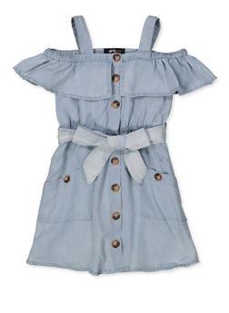 Girls 7-16 Denim Cold Shoulder Skater Dress - 1615038340374