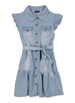 Girls 7-16 Ruffled Denim Skater Dress - 1615038340376