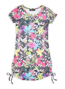 Girls Lace Up Newspaper Floral Print T Shirt Dress - 1615038340435