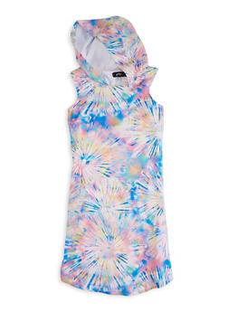 Girls Starburst Tie Dye Sleeveless Hooded Dress - 1615038340437