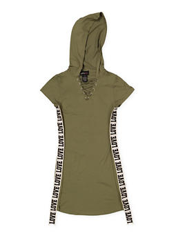 Girls 7-16 Love Graphic Tape Hooded Dress - 1615051060017