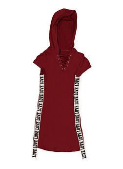 Girls 7-16 Love Graphic Tape Hooded Dress - 1615051060017