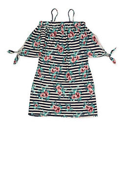 Girls 7-16 Striped Floral Off the Shoulder Dress - 1615051060020