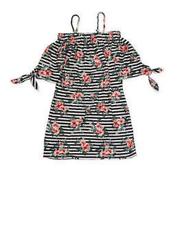 Girls 7-16 Striped Floral Off the Shoulder Dress - 1615051060020