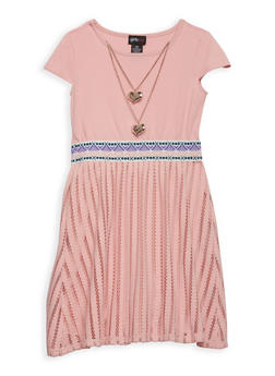 Girls 7-16 Textured Ponte Dress with Necklace - 1615051060196