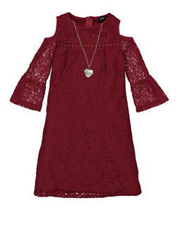 Girls 7-16 Cold Shoulder Lace Dress with Necklace - 1615051060209