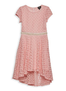 Girls 7-16 Crochet High Low Skater Dress - 1615051060210