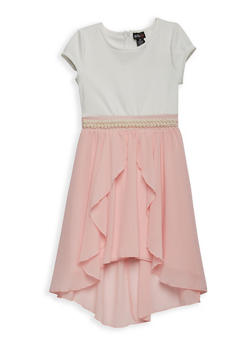Girls 7-16 Faux Pearl Trim Skater Dress - 1615051060211