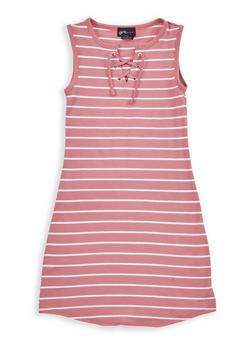 Girls 7-16 Striped Lace Up Dress - 1615051060212