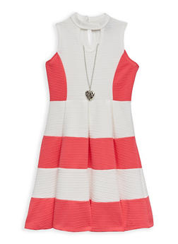 Girls 7-16 Textured Knit Color Block Skater Dress with Necklace - 1615051060213