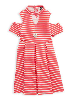 Girls 7-16 Striped Cold Shoulder Dress with Necklace - 1615051060214