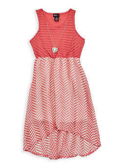 Girls 7-16 Chevron High Low Skater Dress - 1615051060216