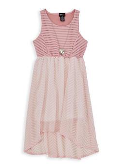 Girls 7-16 Chevron High Low Skater Dress - 1615051060216