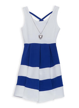Girls 7-16 Textured Knit Striped Skater Dress - 1615051060217