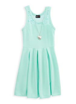 Girls 7-16 Mesh Trim Skater Dress with Necklace - 1615051060220