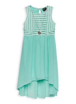 Girls 7-16 Crochet Top High Low Dress with Necklace - 1615051060221