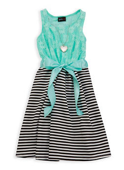 Girls 7-16 Lace Striped Dress with Necklace - 1615051060224
