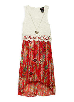 Girls 7-16 Printed High Low Dress with Necklace - 1615051060228