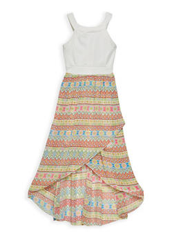 Girls 7-16 Printed Tulip Hem Dress - 1615051060229