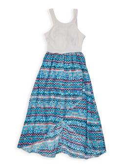 Girls 7-16 Printed Asymmetrical Dress - 1615051060231