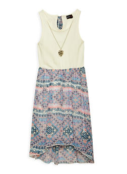 Girls 7-16 Printed High Low Dress with Necklace - 1615051060232