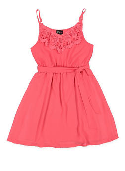 Girls 7-16 Crochet Trim Dress - 1615051060234