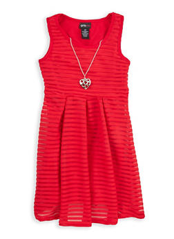 Girls 7-16 Textured Knit Skater Dress with Necklace - 1615051060237
