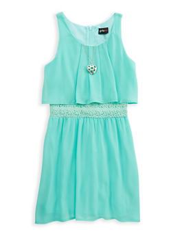 Girls 7-16 Crochet Trim Dress with Necklace - 1615051060238
