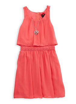 Girls 7-16 Crochet Trim Dress with Necklace - 1615051060238