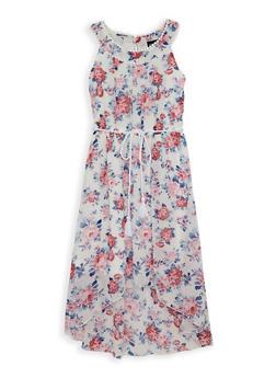 Girls 7-16 Printed Crochet Trim High Low Dress - 1615051060241