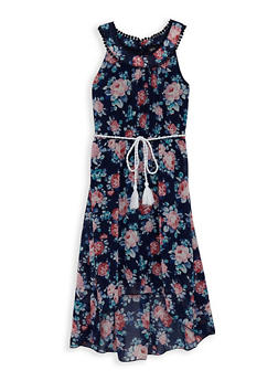 Girls 7-16 Printed Crochet Trim High Low Dress - 1615051060241