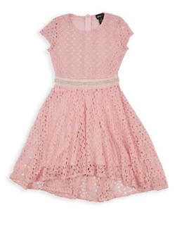 Girls 7-16 Crochet Rhinestone Trim Skater Dress - 1615051060297