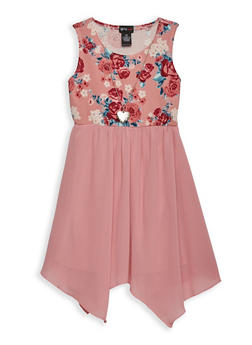Girls 7-16 Floral Skater Dress with Necklace - 1615051060298