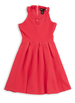 Girls 6x-16 Textured Knit Skater Dress - 1615051060299