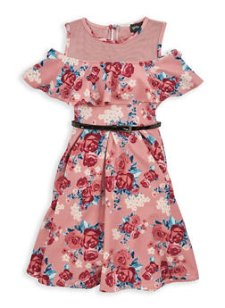 Girls 7-16 Belted Floral Cold Shoulder Dress - 1615051060301
