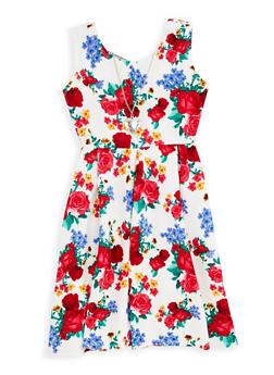 Girls 7-16 Floral Skater Dress with Necklace - 1615051060302
