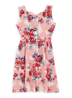 Girls 7-16 Floral Skater Dress with Necklace - 1615051060302