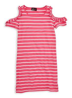 Girls 7-16 Ruffle Cold Shoulder Striped Dress - 1615051060310