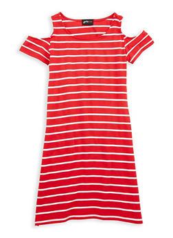 Girls 7-16 Cold Shoulder Striped Dress - 1615051060312