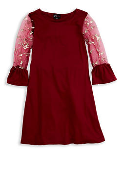 Girls 7-16 Embroidered Sleeve Dress - 1615051060314