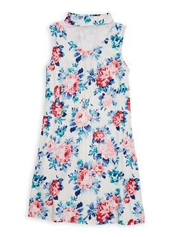 Girls 7-16 Mesh Yoke Floral Tank Dress - 1615051060315