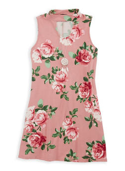 Girls 7-16 Floral Dress with Necklace - 1615051060317