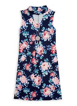 Girls 7-16 Floral Keyhole Tank Dress - 1615051060318