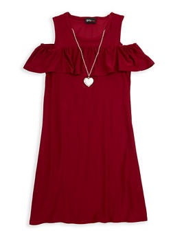Girls 7-16 Cold Shoulder Dress with Necklace - 1615051060321