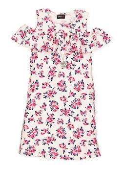 Girls 7-16 Floral Cold Shoulder Dress - 1615051060322