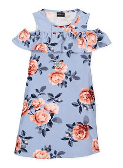 Girls 7-16 Floral Cold Shoulder Dress - 1615051060322