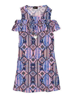 Girls 7-16 Printed Cold Shoulder Dress with Necklace - 1615051060323