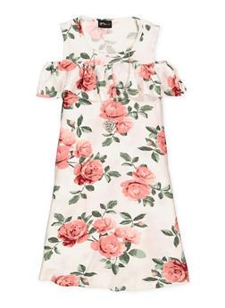 Girls 7-16 Floral Cold Shoulder Dress - 1615051060324