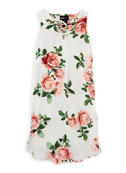 Girls 7-16 Soft Knit Floral Caged Neck Dress - 1615051060328